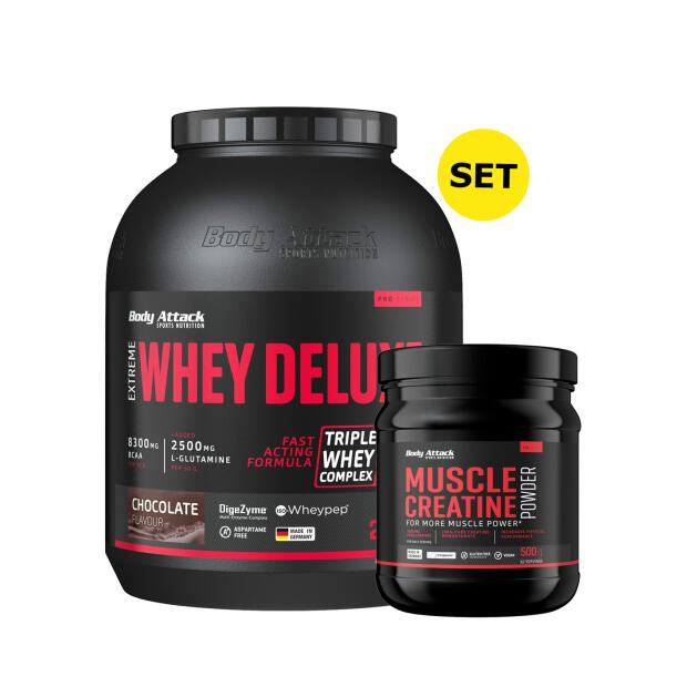 BODY ATTACK Extreme Whey Deluxe 2300g + Muscle Creatine (Creapure) 500g Amarena Cherry Cream