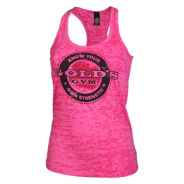 Bottle Cap Burnout Tank Golds Gym hot pink