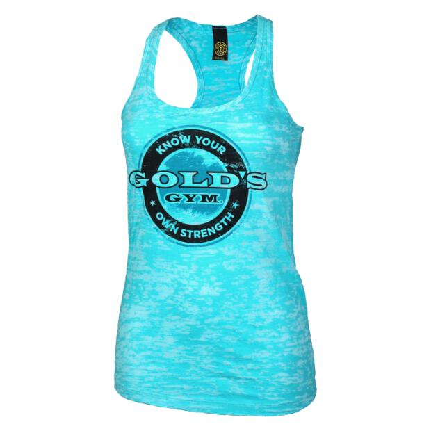 Bottle Cap Burnout Tank Golds Gym tahiti blue