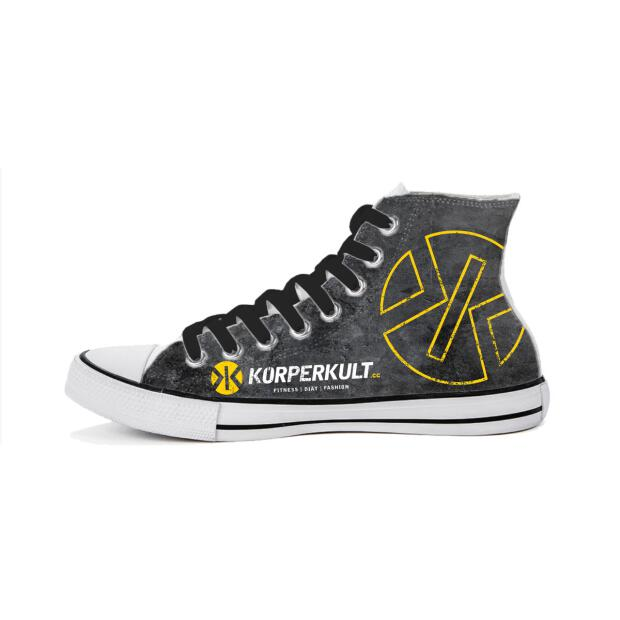 KÖRPERKULT High Top Sneakers grey/yellow